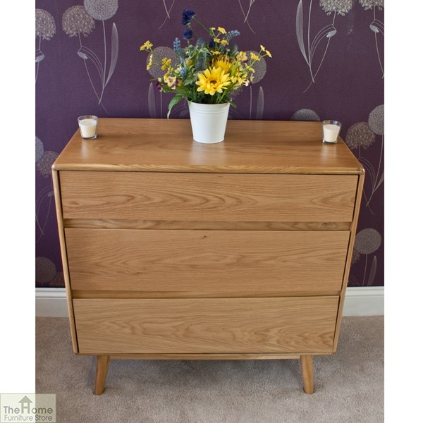 Casamoré Retro Style Oak 3 Drawer Chest_3