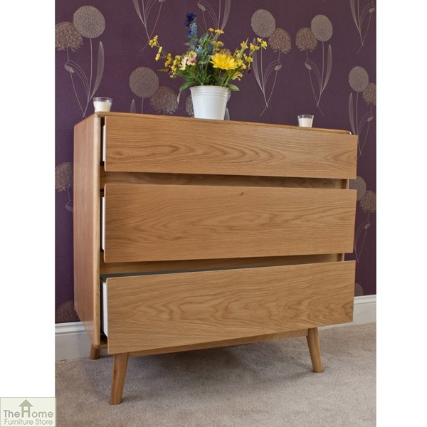 Casamoré Retro Style Oak 3 Drawer Chest_4