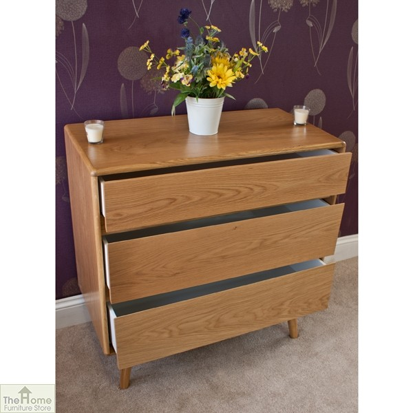 Casamoré Retro Style Oak 3 Drawer Chest_5