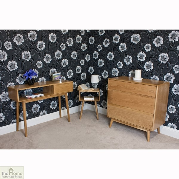 Casamor retro style oak 3 drawer chest the home for Retro style bedroom furniture