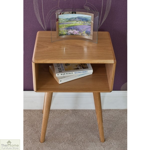 Casamoré Retro Style Oak Side Table Unit_5