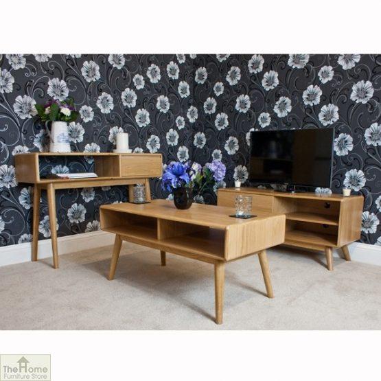 Casamoré Retro Style Oak Console Table_10