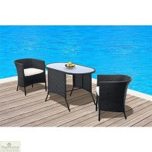 Tuscany 2 Seater Hideaway Set Black Rattan Weave