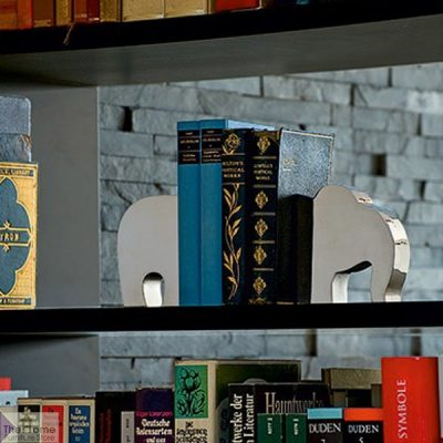 Silver Finish Elephant Bookends_1