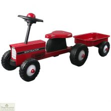 Red tractor and trailer