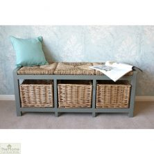 Casamoré Gloucester 3 Basket Storage Bench Eucalyptus Grey