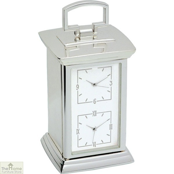 Twin Carriage Silver Finish Clock