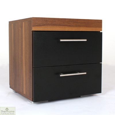 Black 2 Drawer Bedside Cabinet