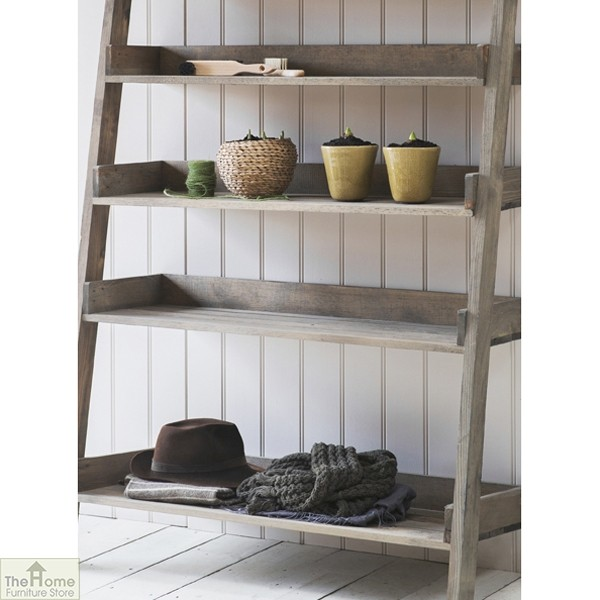 wide rustic wooden shelf ladder the home furniture store. Black Bedroom Furniture Sets. Home Design Ideas
