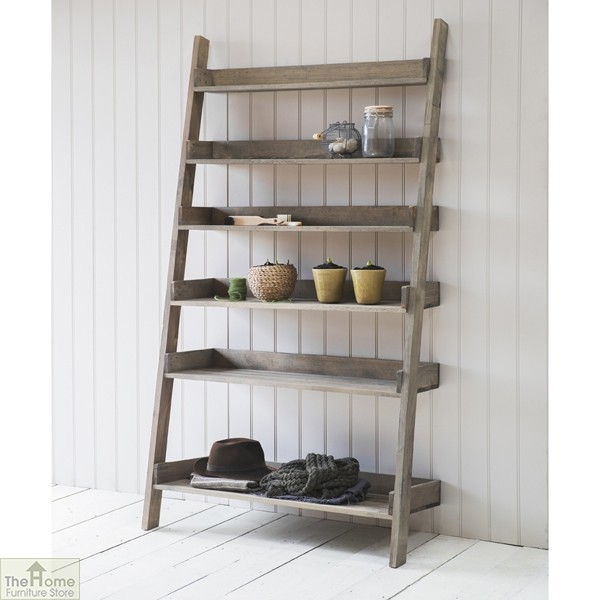 Wide Rustic Wooden Shelf Ladder_1