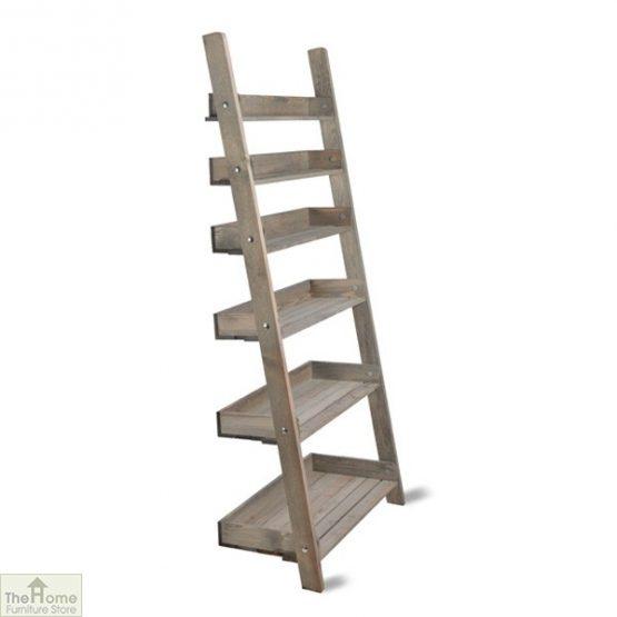 Wide Rustic Wooden Shelf Ladder