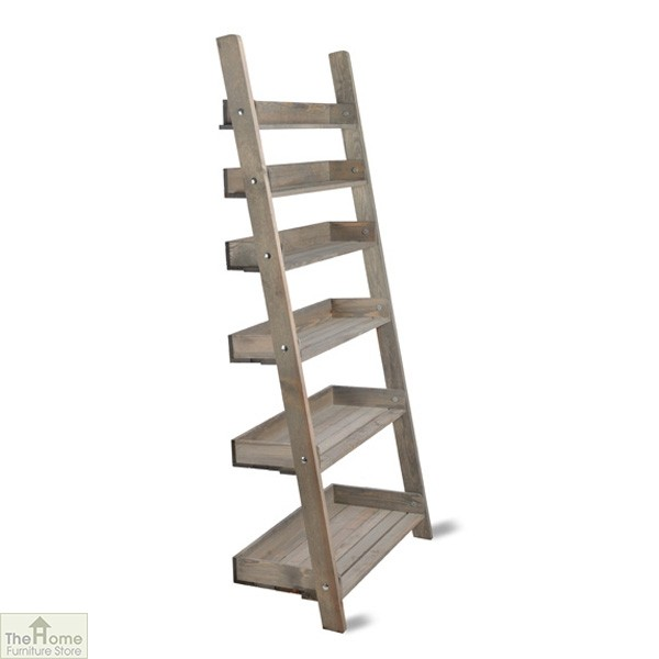 Wide Rustic Wooden Shelf Ladder