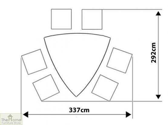 Corfu 160cm Triangular Set Footprintt