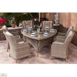 Casamoré Corfu Natural 6 Seater Triangular Dining Set