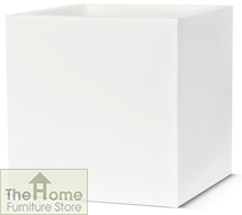 Lux White Resin Square Planter