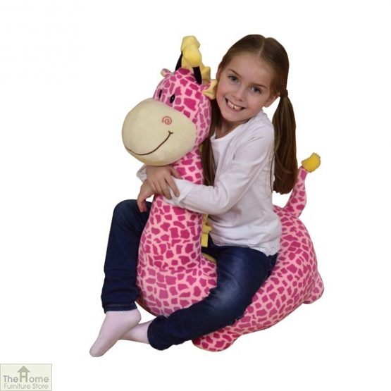 Plush Pink Giraffe Riding Chair