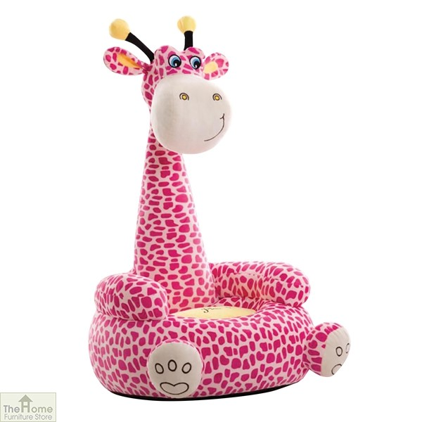 Plush Pink Giraffe Sitting Chair