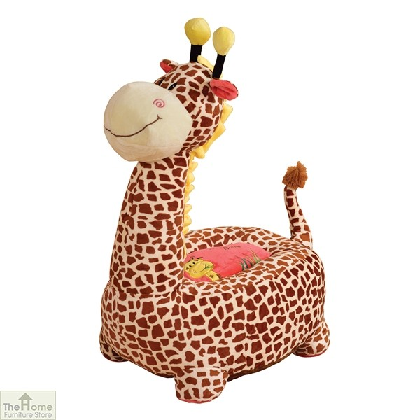 Plush Brown Giraffe Riding Chair