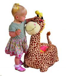 Plush Brown Giraffe Riding Chair