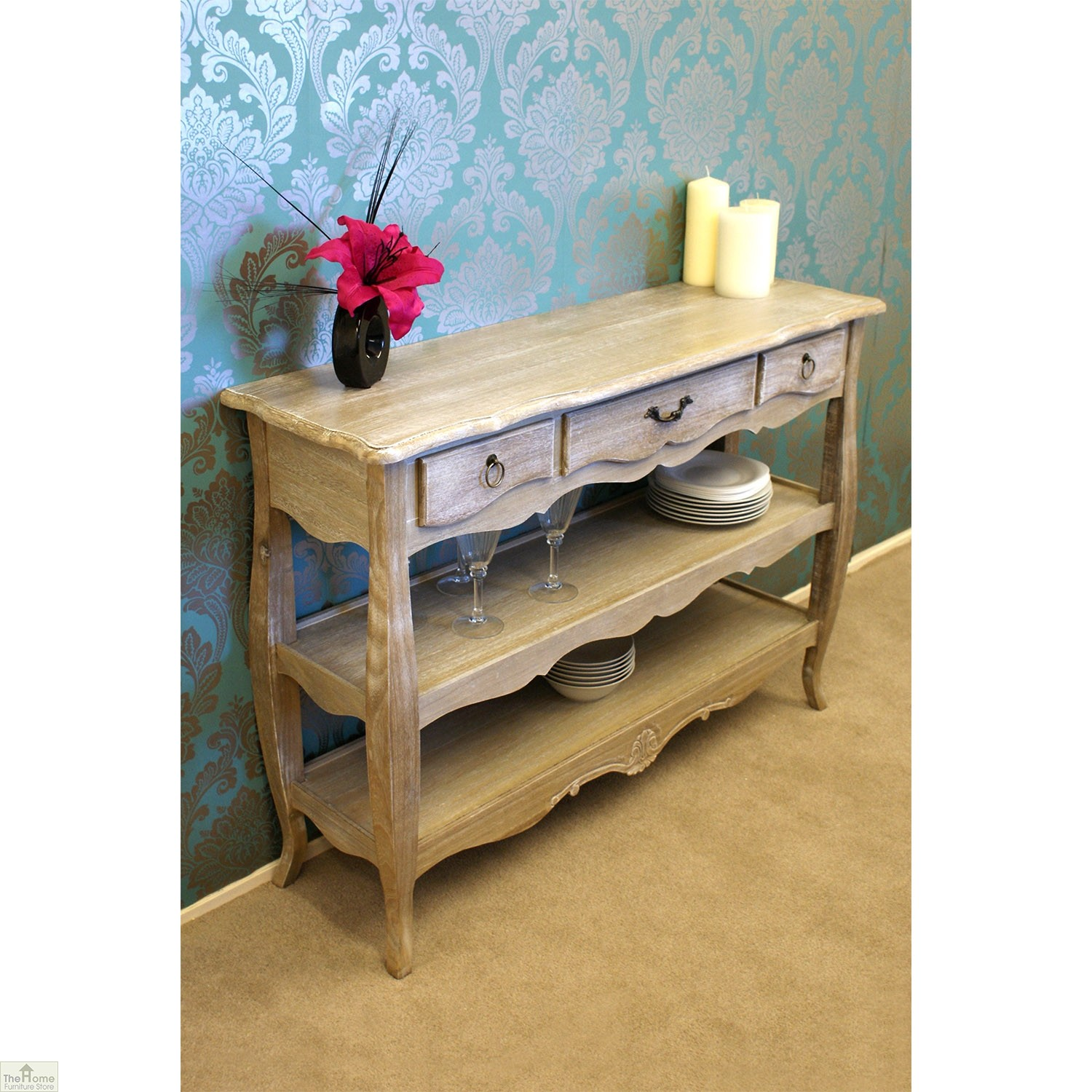 Casamor bordeaux 3 drawer 2 shelf console table the hfs Home furniture outlet uk