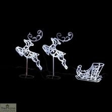 LED Flying Reindeers with Sleigh