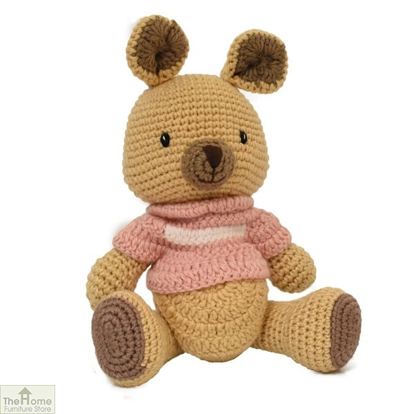 Kangaroo Knitted Toy Pink