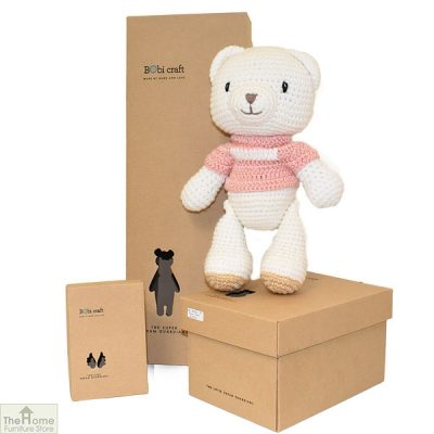 Sitting Bear Knitted Toy Pink_1