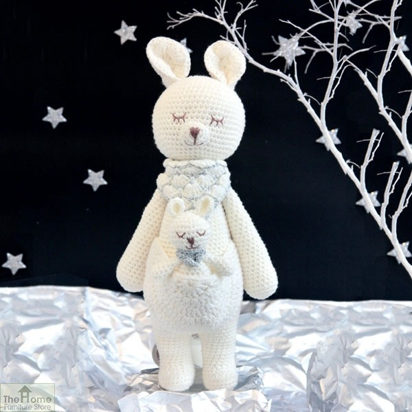 Kangaroo knitted toy white the home furniture store hfs for Kangaroo outdoor furniture covers