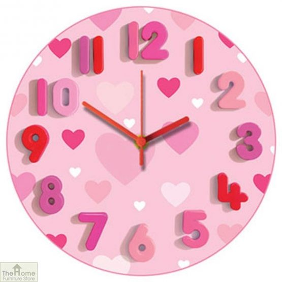 Pink Hearts Childrens Wall Clock