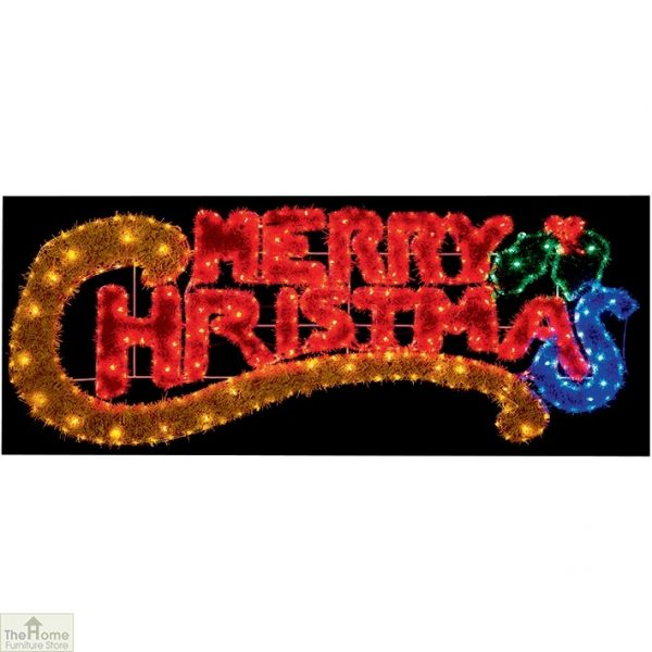 LED Merry Christmas Tinsel Sign