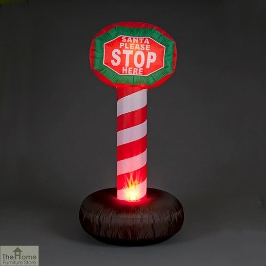 1.8m Inflatable 'Santa Please Stop Here' Sign