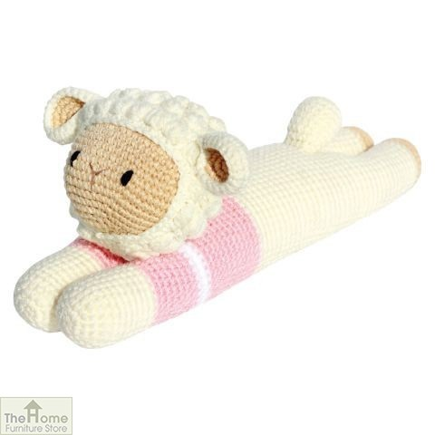 Laying Sheep Knitted Toy Pink