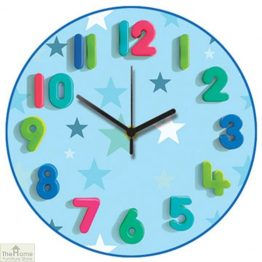 Blue Stars Childrens Wall Clock