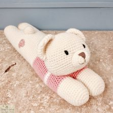 Laying Bear Knitted Toy Pink