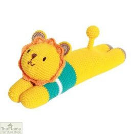 Laying Lion Knitted Toy Blue