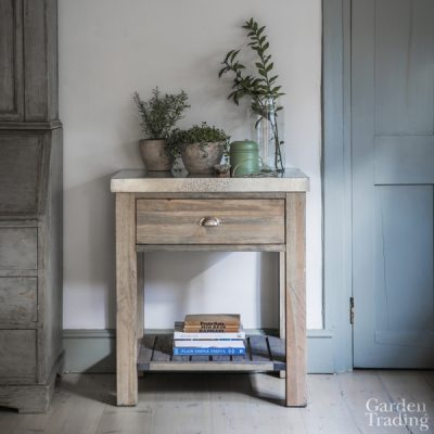 Zinc Top 1 Drawer Side Table_1