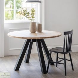Raw Oak Round Dining Table Dark Grey_1