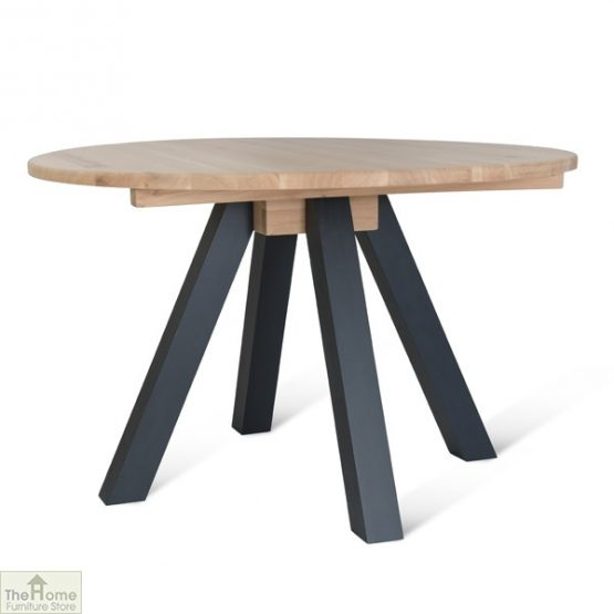 Raw Oak Round Dining Table Dark Grey