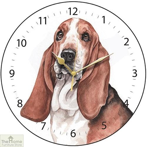 Basset Hound Print Wall Clock