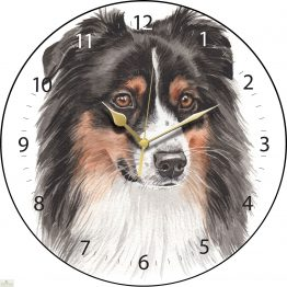 Australian Shepherd Dog Print Wall Clock