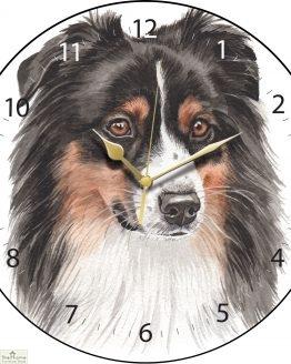 Australian Shepherd Dog Print Wall Clock