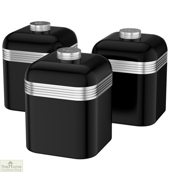 Black Retro Kitchen Canisters