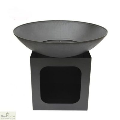 Cast Iron Firebowl With Log Store_2