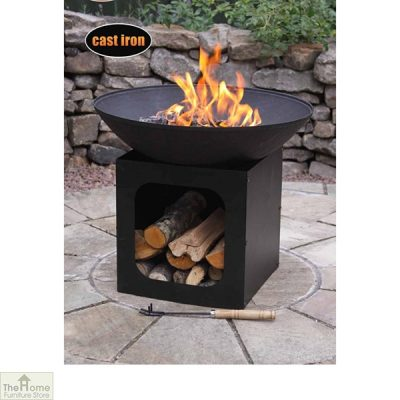 Cast Iron Firebowl With Log Store_4
