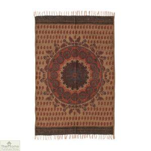Mandala Patterned Jute Cotton Rug