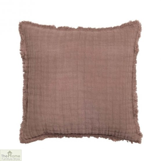 Cocoa Frayed Linen Cushion Cover