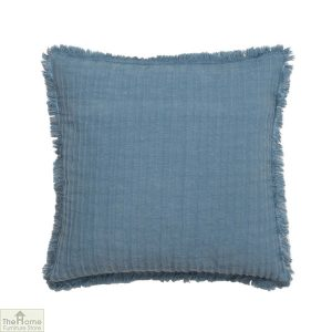Blue Frayed Linen Cushion Cover