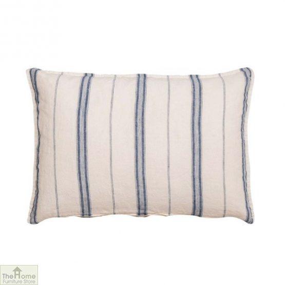 Blue White Stripe Linen Cushion Cover