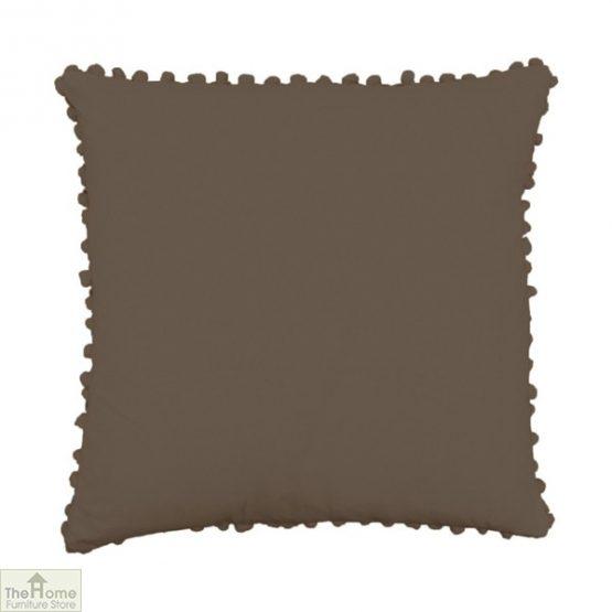 Brown Pom Pom Cotton Cushion
