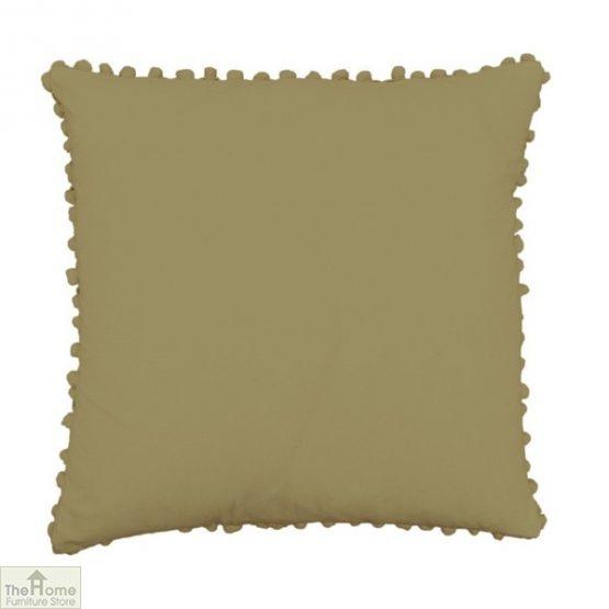 Khaki Pom Pom Cotton Cushion